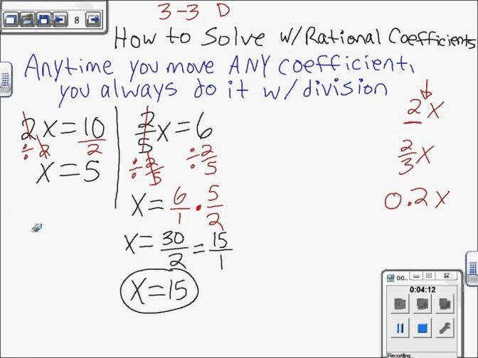 Solve Equations With Rational Coefficients Solving Linear 7th Grade Fractions Worksheet Gcse Worksheets Doc 6th 9