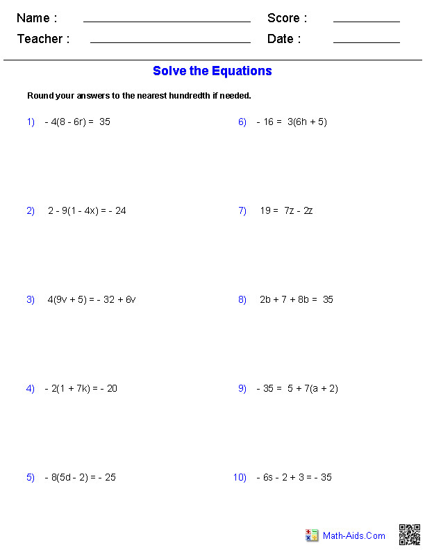Multiple Step Equations Worksheets Containing Integers