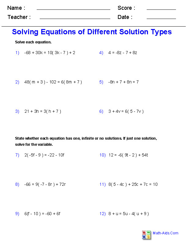 Solving Single Variable Equations Worksheets