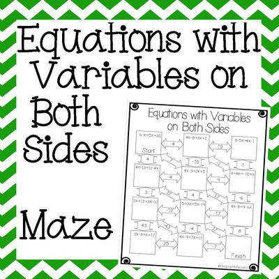 C2ESSCLYFAAP0KS8 Equations with Variables on Both Sides Maze Cover 2