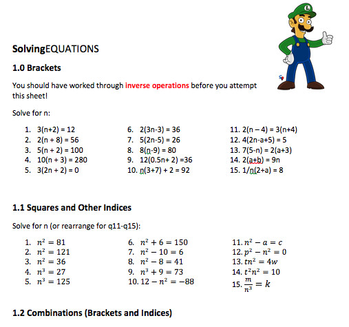 olving equations