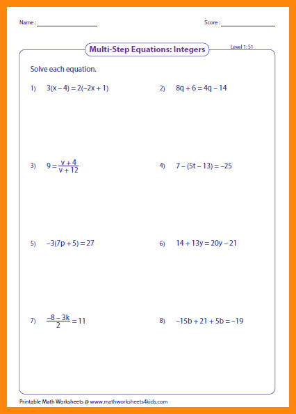 solving equations worksheetsegers level1 large