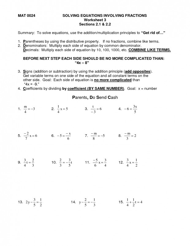 Solving Equations Worksheet Answers 14 Best Multi Step Worksheets With Fractions f100cce6 Depiction Ravishing 23 Algebra Problems And
