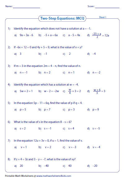 Solving Equations Worksheets Homeschooldressage