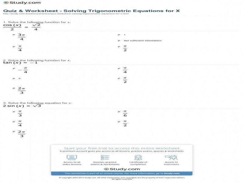 Quiz & Worksheet Solving Trigonometric Equations For X