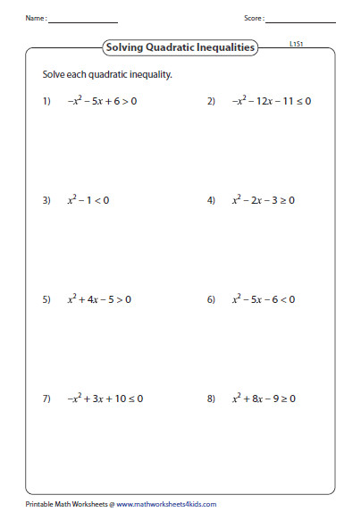 Solve Quadratic Inequalities Level 1 PREVIEW