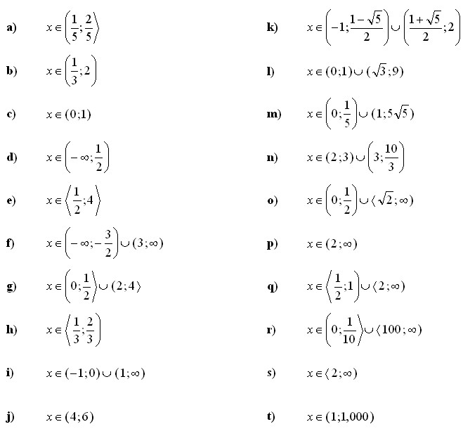 Logarithmic equations and inequalities Answers to Exercise 4