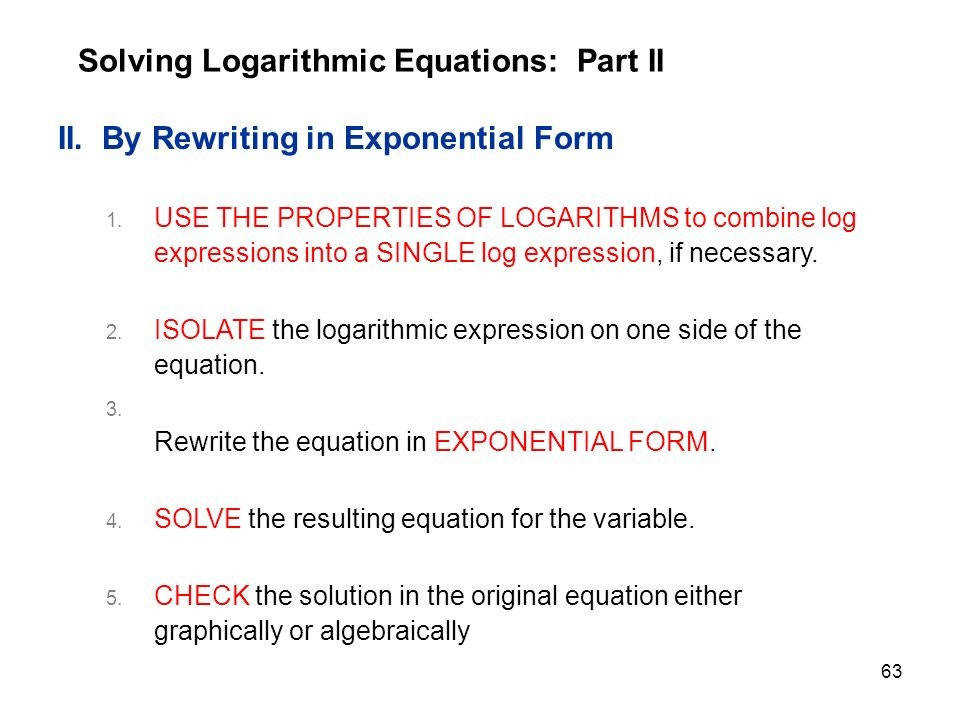 Rewrite Exponential Form Solving Logarithmic Equations 3a Part Pics Marvelous 63 Rewriting