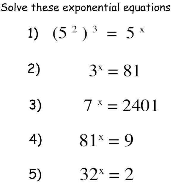 starter exponential equations