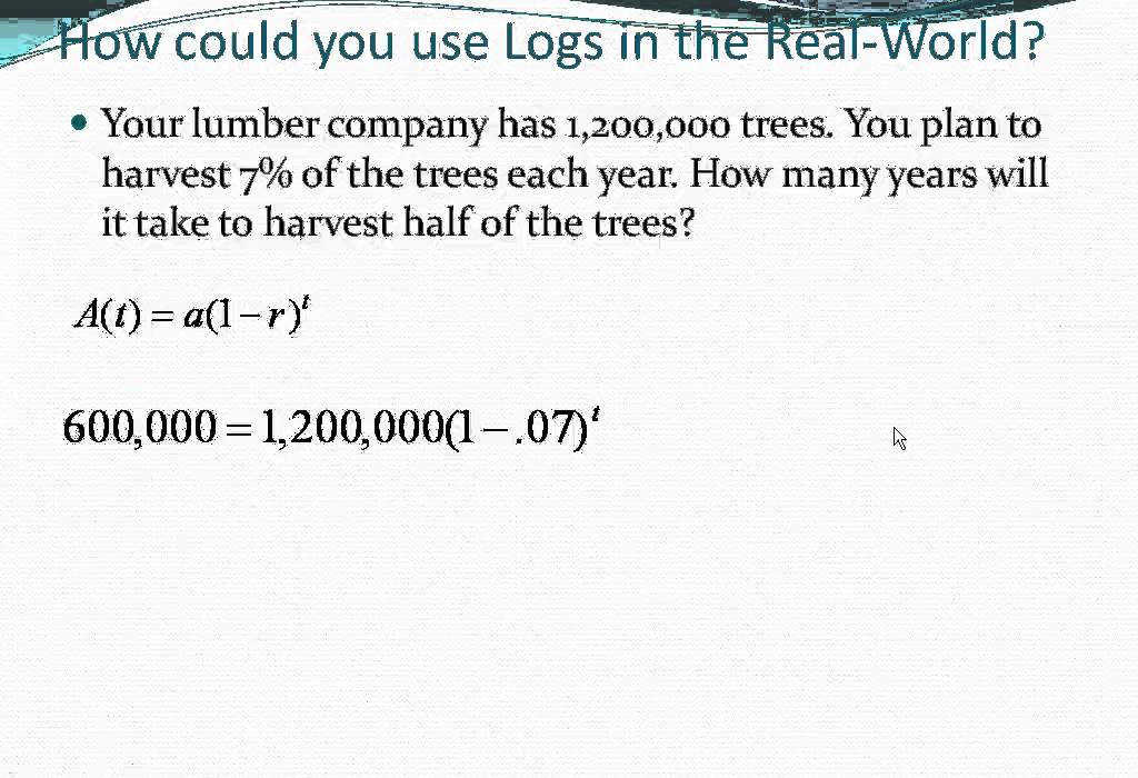 Solving Logarithmic Equations Word Problems