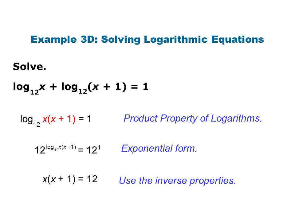 Product Property Logarithms Example 3d 3a Solving Logarithmic Equations Screnshoots Delicious