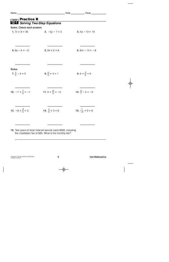 Practice B 2 Step Equations Solving Multi Worksheet Algebra Solving Multiple Step Equations Worksheet Worksheet Medium