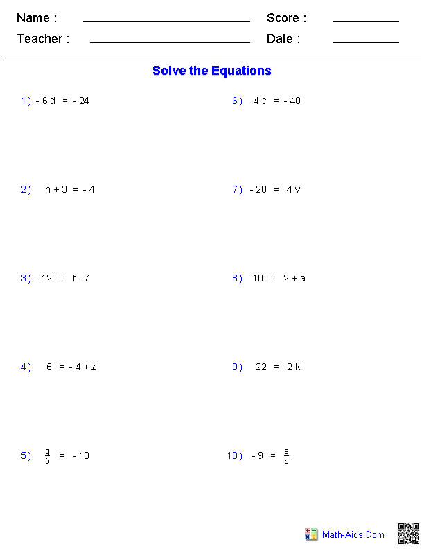 e Step Equations Worksheets Containing Integers