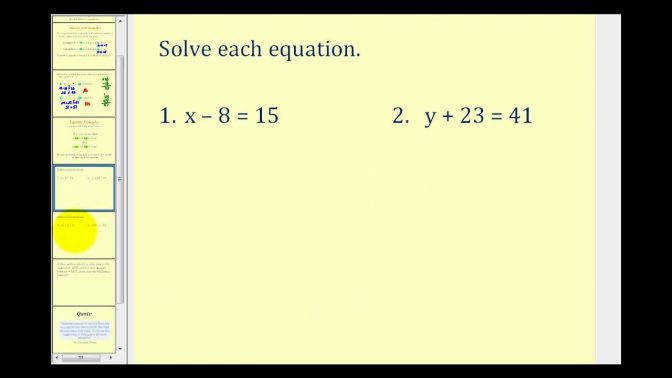 Solving e Step Equations By Addition And Subtraction Youtube Maxresde Solving Addition Equations Worksheets Worksheet Medium