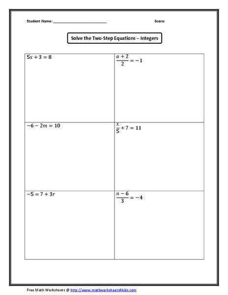 e Step Equations With Integers 7th 9th Grade Worksheet