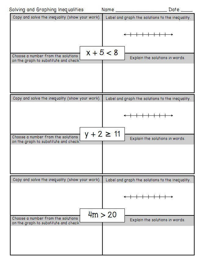 FREEBIE e Step Inequalities Worksheet This freebie is also part of a larger