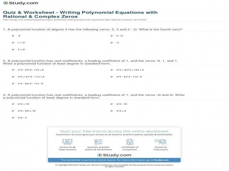 Quiz & Worksheet – Writing Polynomial Equations With Rational