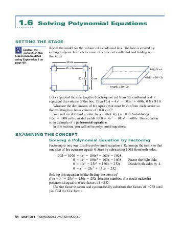 1 6 Solving Polynomial Equations