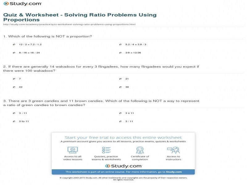 Quiz & Worksheet Solving Ratio Problems Using Proportions