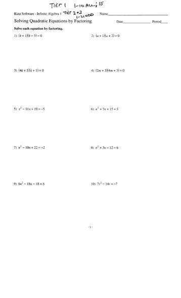 Solving Quadratic Equations by Factoring Date Period