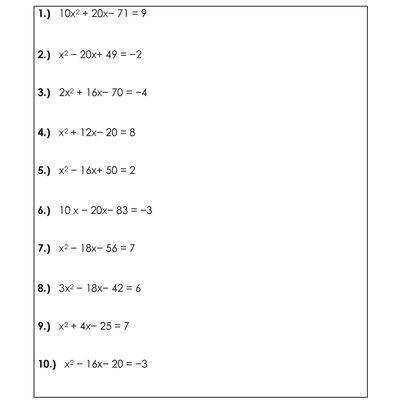4 Worksheets for Solving Quadratic Equations