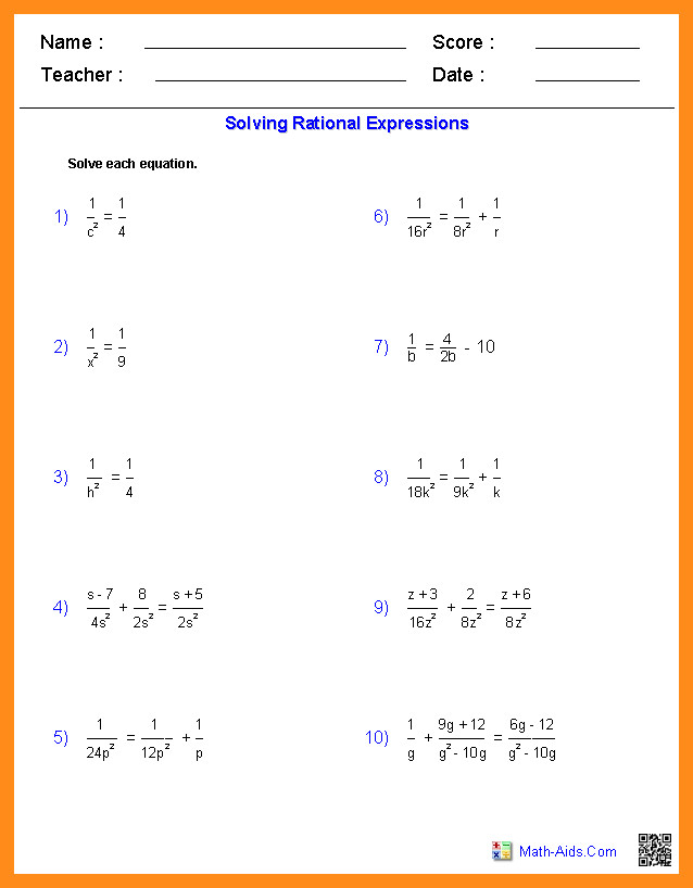 algebra 2 rational expressions gebra1 solving rationals worksheets