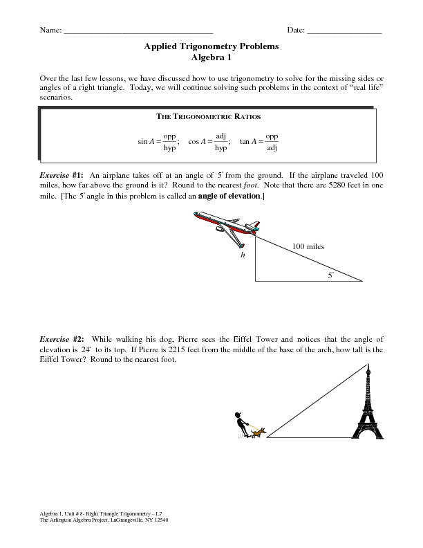Solving Right Triangles Word Problems Worksheet Kidz Activities