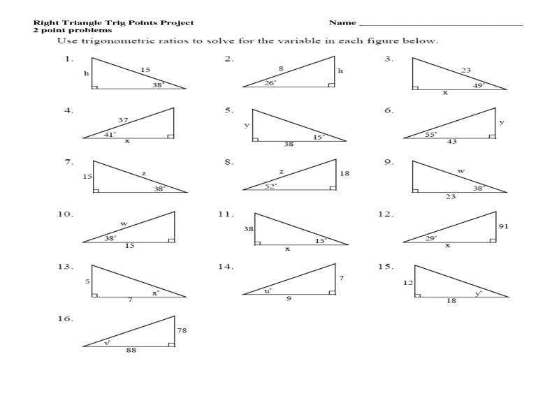 Trigonometric Ratios In Right Triangles Worksheet Solving For X