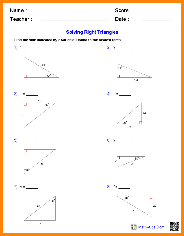 special triangles worksheetig solve right triangle