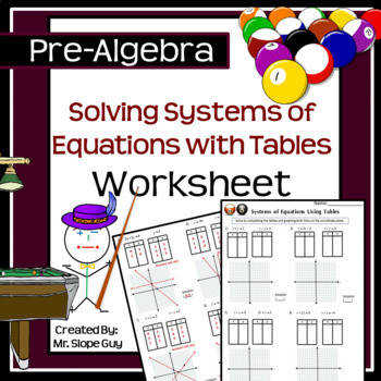 Solving Systems of Equations Tables PDF Worksheet 8 EE C 8 Go Math Graphing