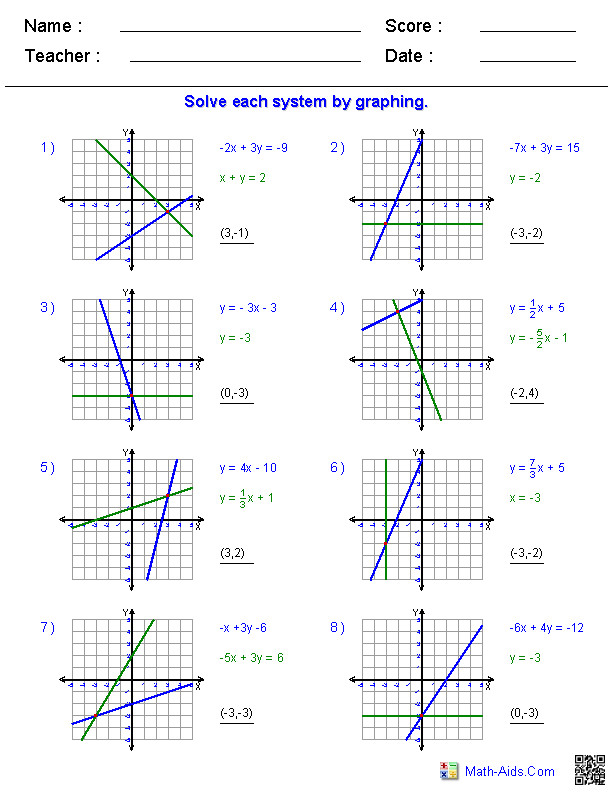 Solving Graphically Two Variable Systems of Equations Worksheets