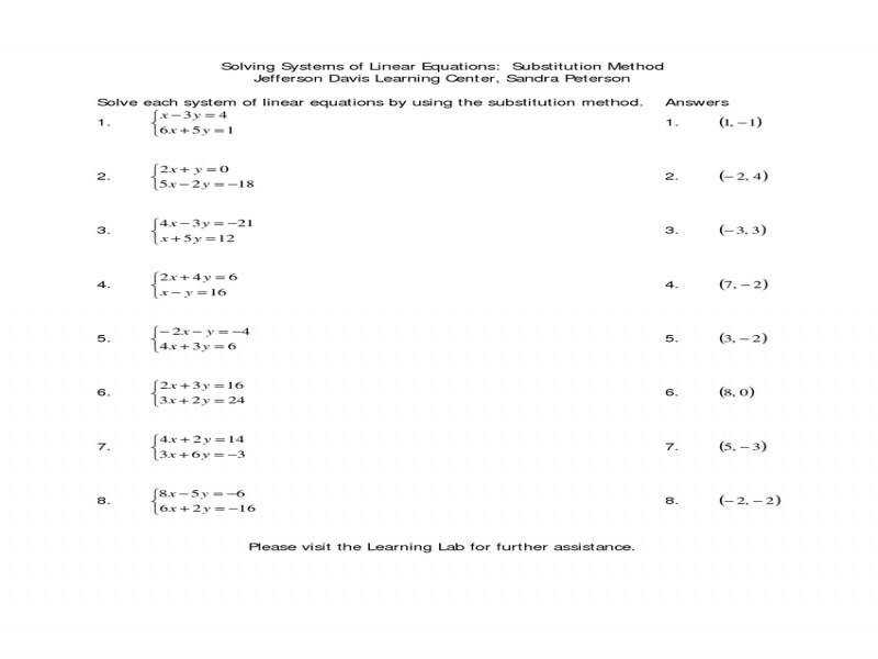 Solving Systems Linear Equationssubstitution Worksheet Doc