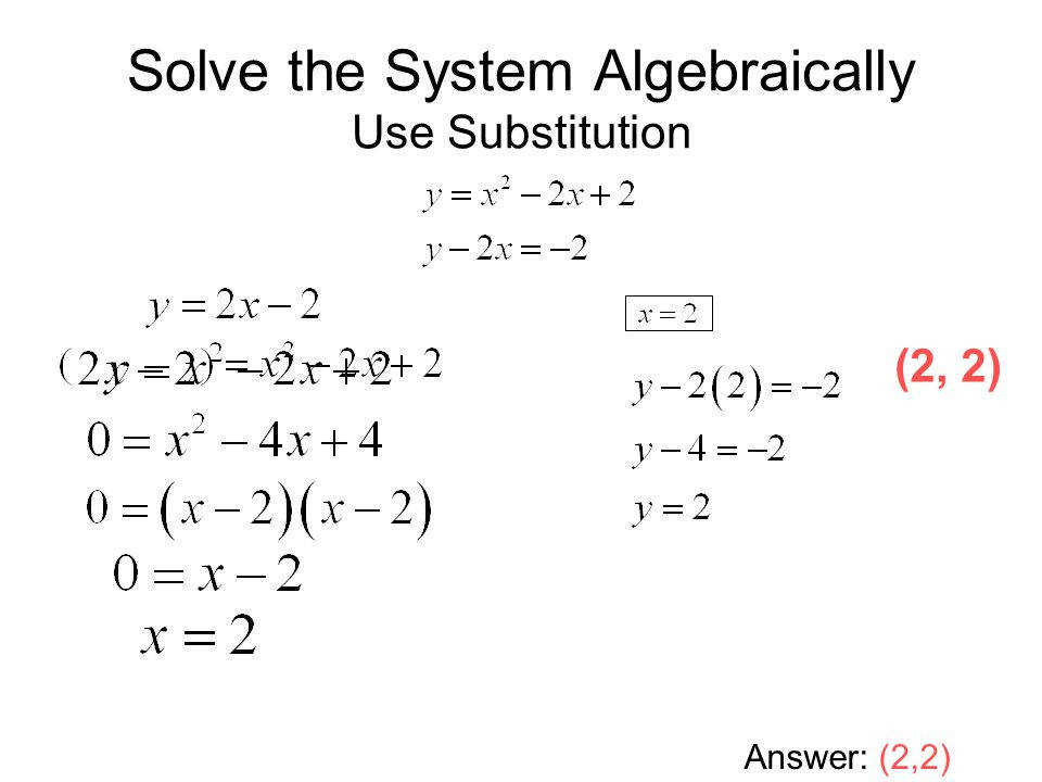 Worksheets Solving Systems Equations Algebraically Worksheet solving systems of linear and quadratic equations ppt