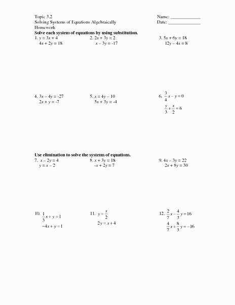 Solving Systems Equations by Elimination Worksheet Unique System Equations Substitution Worksheet Free Worksheets Library