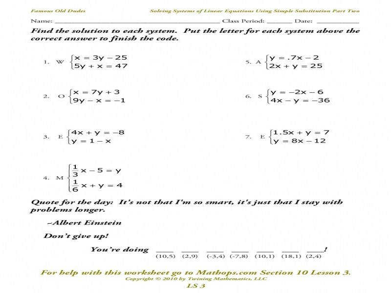 Ls 3 Solving Systems Equations Using Simple Substitution Part