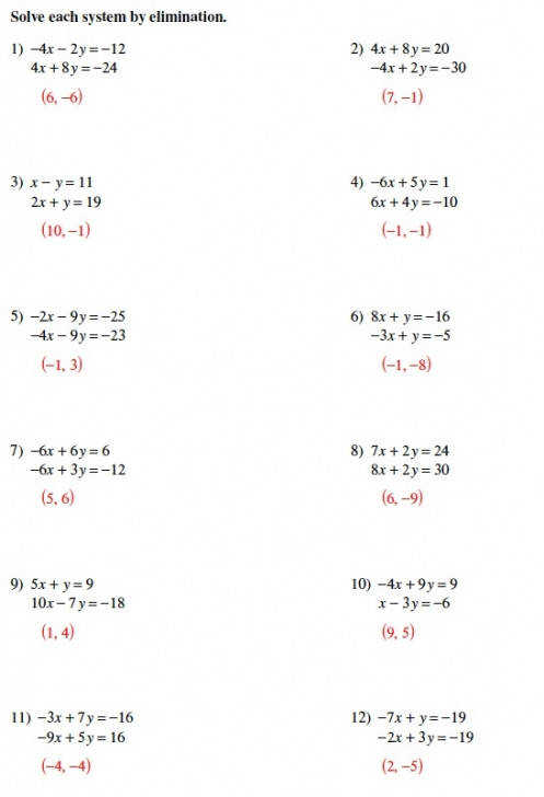 Solving Systems Equations Elimination Worksheet Answers inside solving systems of equations by elimination worksheet