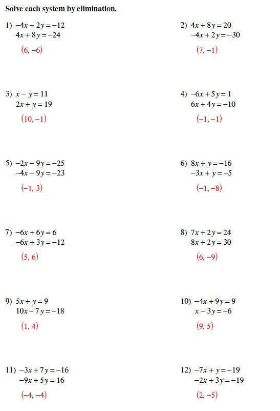 solving systems of equations by elimination worksheet studying look practice how to solve systems of equations