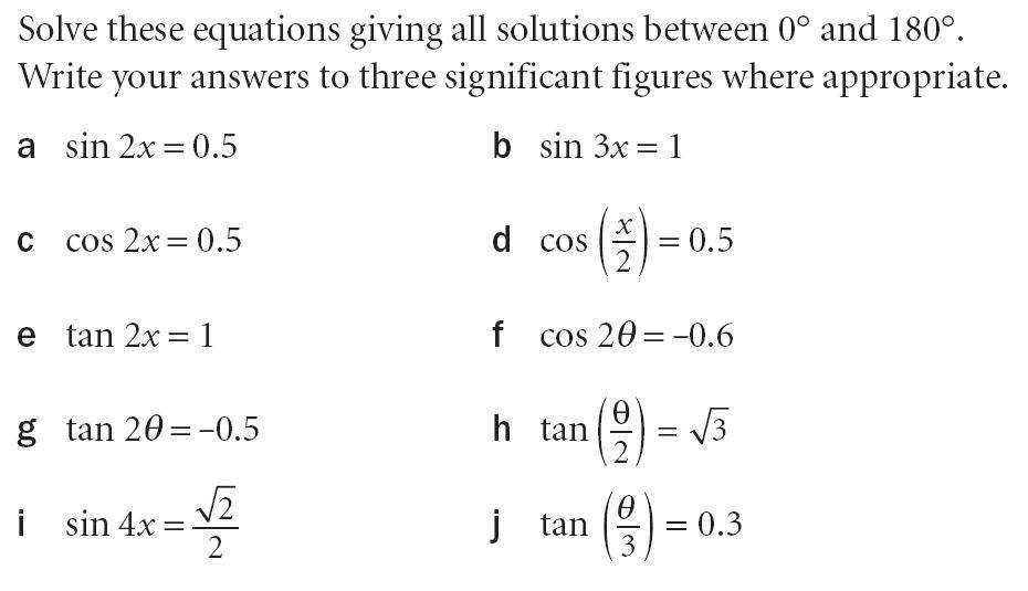 Questions on solving basic trigonometric equations Worksheets