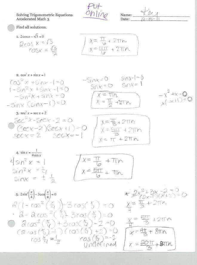 Trig Equations worksheet 5 1 Name Solve for 0 x