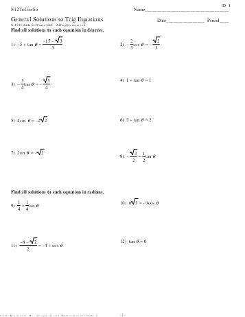 solving trig equations worksheet quadratic trig equations worksheet solve trigonometric equations calculator 53 solving trigonometric equations