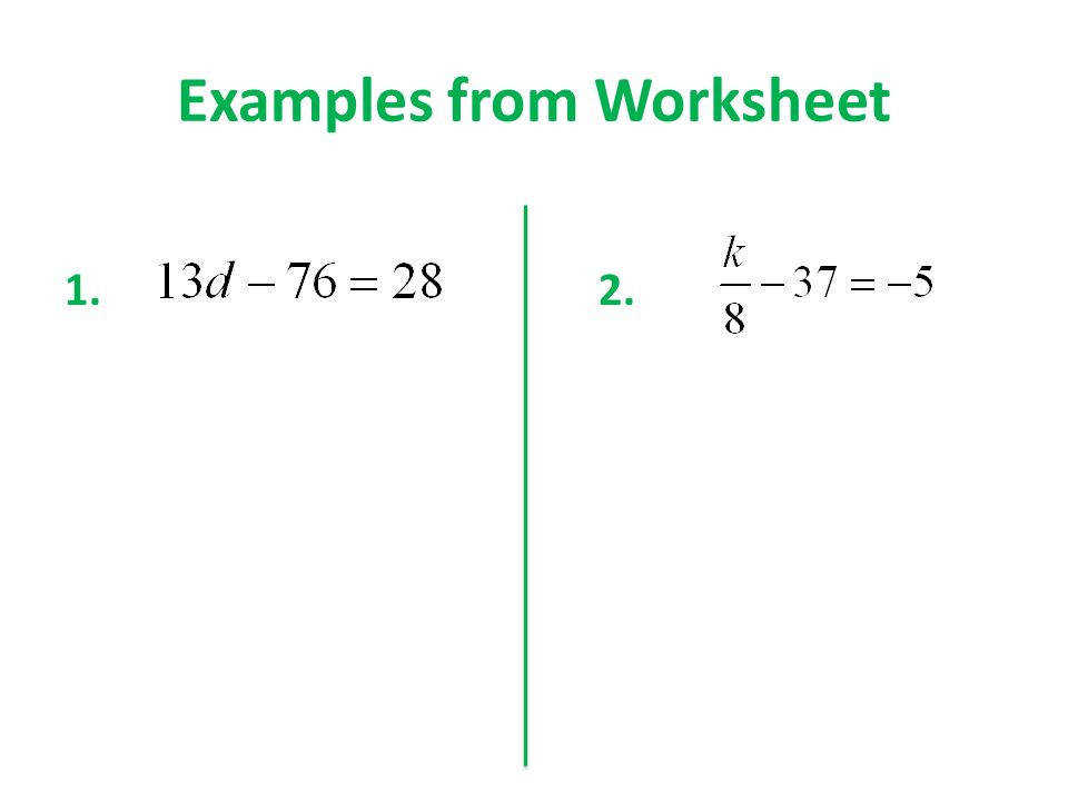 2 Examples from Worksheet 1 2