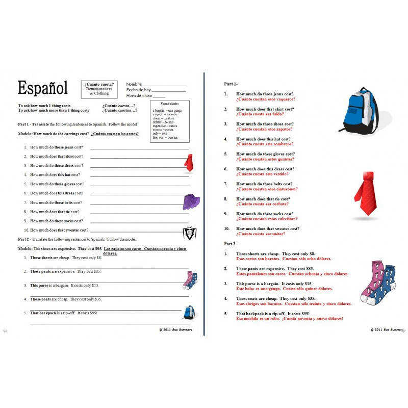 Spanish Clothing Unit Vocabulary Skits and Worksheets 42 Pages