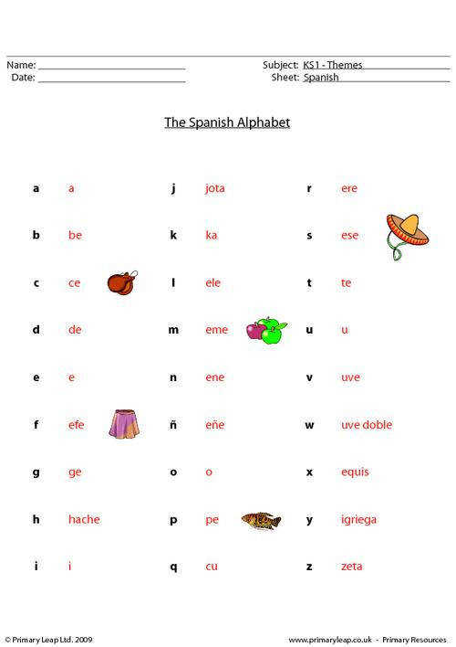 PrimaryLeap Spanish alphabet Worksheet