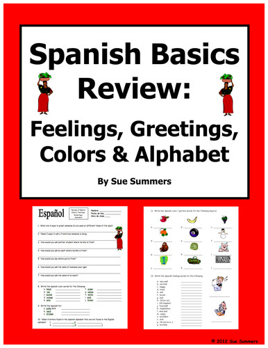 Number Names Worksheets spanish alphabet worksheet Spanish Basics Review Colors Alphabet Feelings