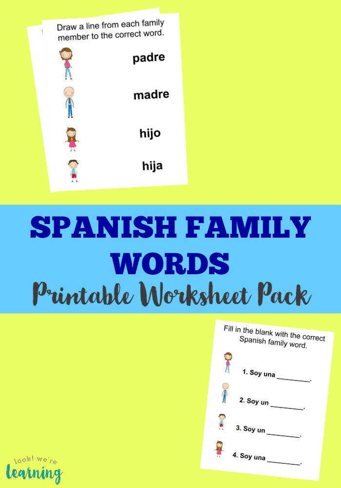 Use this printable Spanish family members worksheet pack to learn how to talk about family in