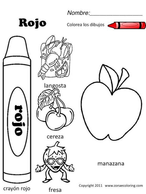 Spanish Colors Coloring Worksheet