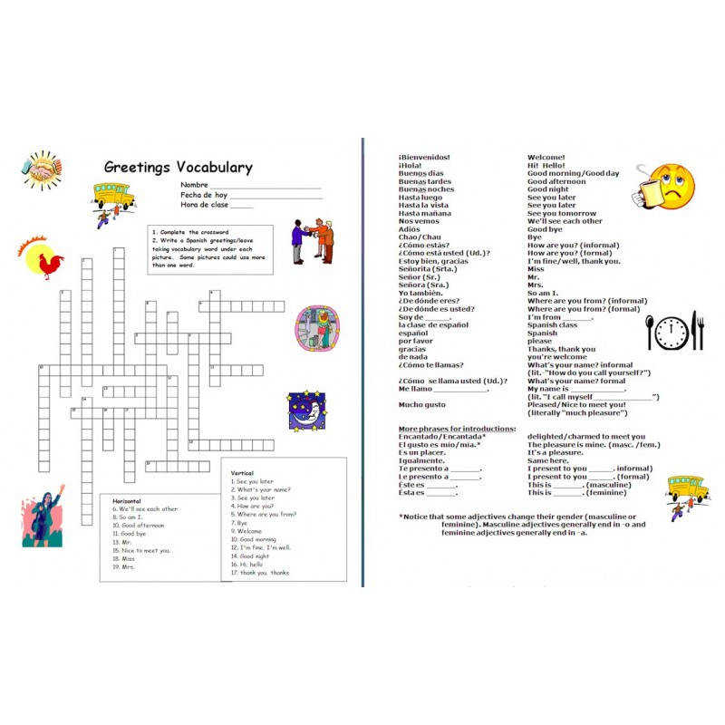 Spanish Greetings and Basics Spanish Crossword Worksheet and Vocabulary List