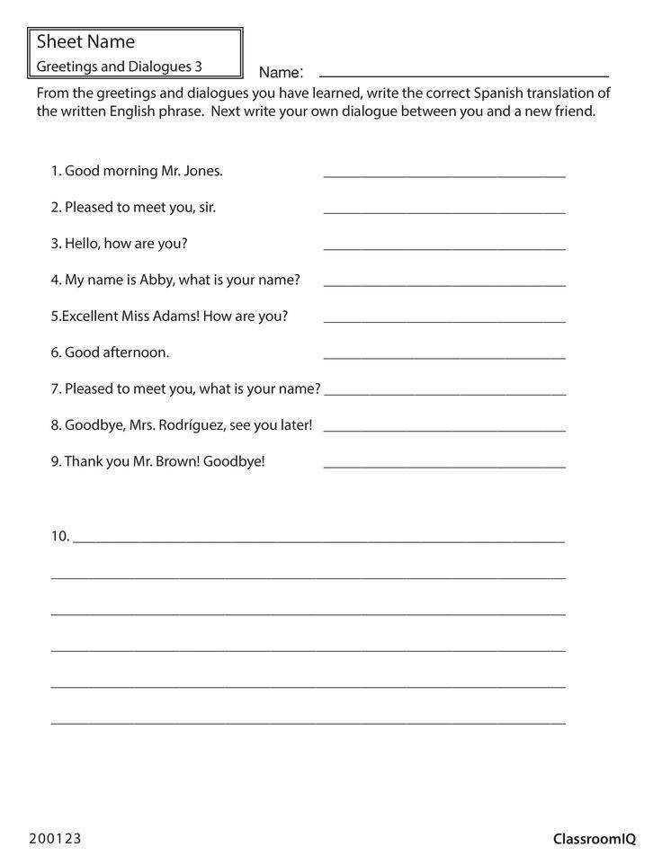 Translate Spanish greetings & dialogues Then write your own ClassroomIQ Spanishworksheets