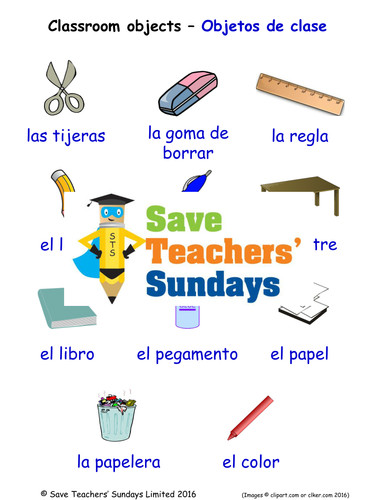Classroom Objects in Spanish Worksheets Games Activities and Flash Cards