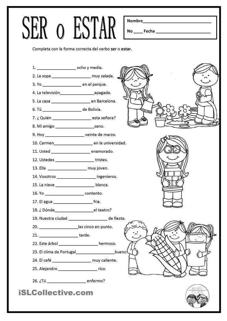 Free Spanish worksheets SER O ESTAR For some of these either ser or